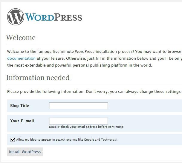 instalace wordpress 2.5 rc1